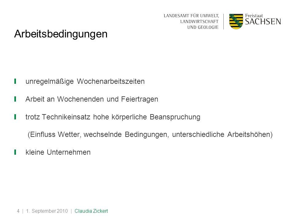 | 1. September 2010 | Claudia Zickert4 Arbeitsbedingungen unregelmäßige Wochenarbeitszeiten Arbeit an Wochenenden und Feiertragen trotz Technikeinsatz