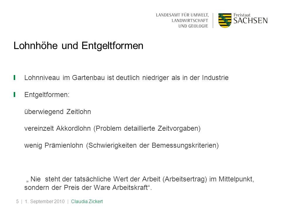 | 1. September 2010 | Claudia Zickert5 Lohnhöhe und Entgeltformen Lohnniveau im Gartenbau ist deutlich niedriger als in der Industrie Entgeltformen: ü