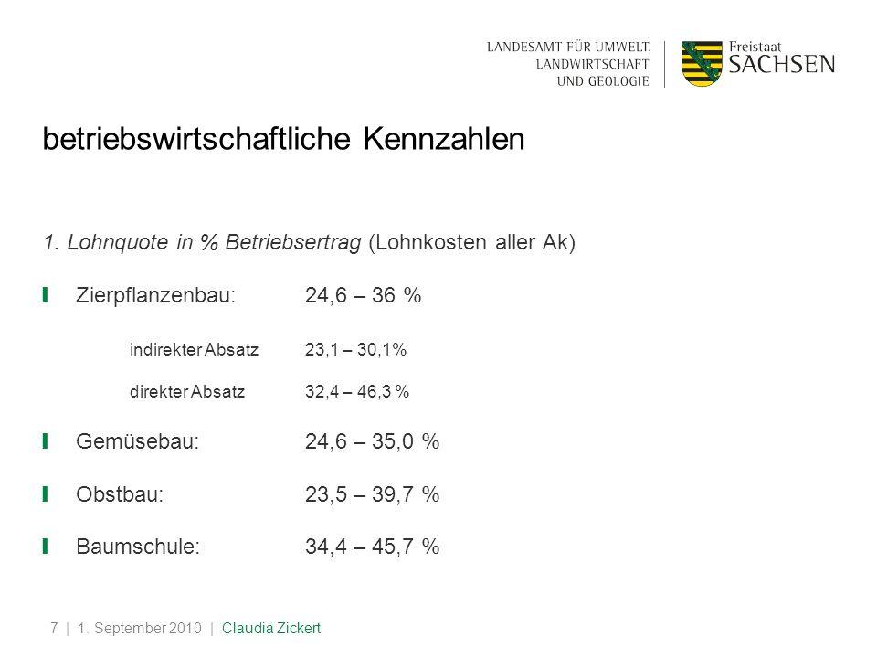 | 1.September 2010 | Claudia Zickert8 betriebswirtschaftliche Kennzahlen 2.