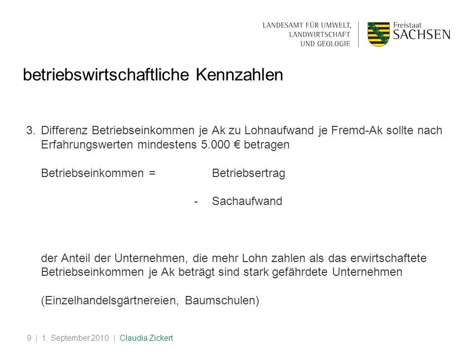 | 1. September 2010 | Claudia Zickert9 betriebswirtschaftliche Kennzahlen 3.Differenz Betriebseinkommen je Ak zu Lohnaufwand je Fremd-Ak sollte nach E