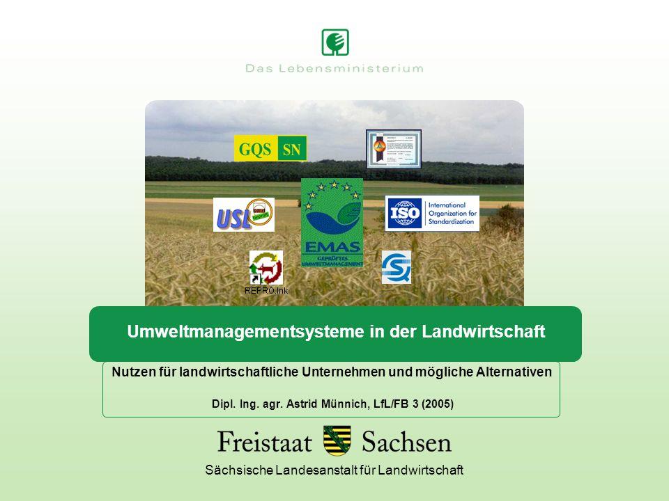 Sächsische Landesanstalt für Landwirtschaft Umweltmanagementsysteme in der Landwirtschaft Nutzen für landwirtschaftliche Unternehmen und mögliche Alte