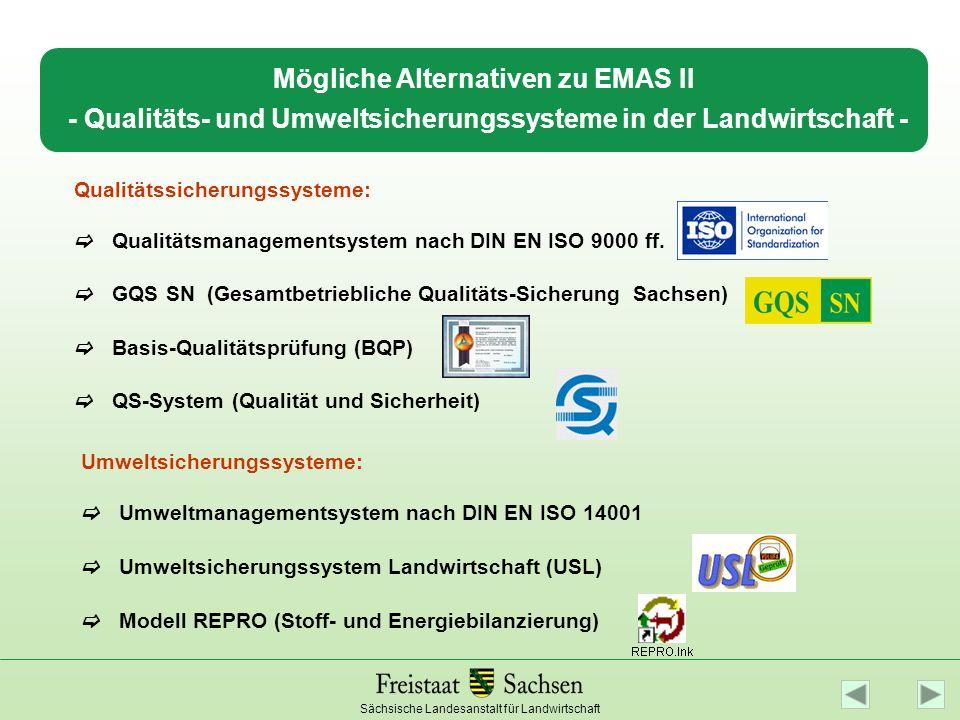 Sächsische Landesanstalt für Landwirtschaft Mögliche Alternativen zu EMAS II - Qualitäts- und Umweltsicherungssysteme in der Landwirtschaft - Qualität