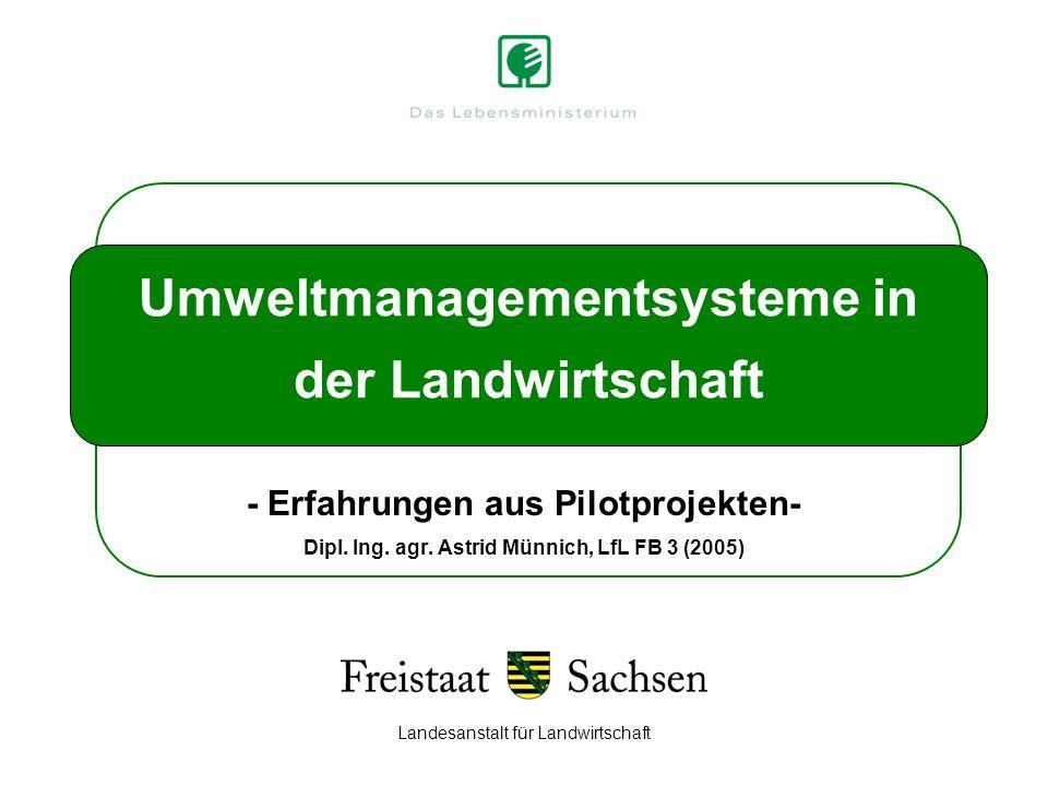Landesanstalt für Landwirtschaft Umweltmanagementsysteme in der Landwirtschaft - Erfahrungen aus Pilotprojekten- Dipl. Ing. agr. Astrid Münnich, LfL F