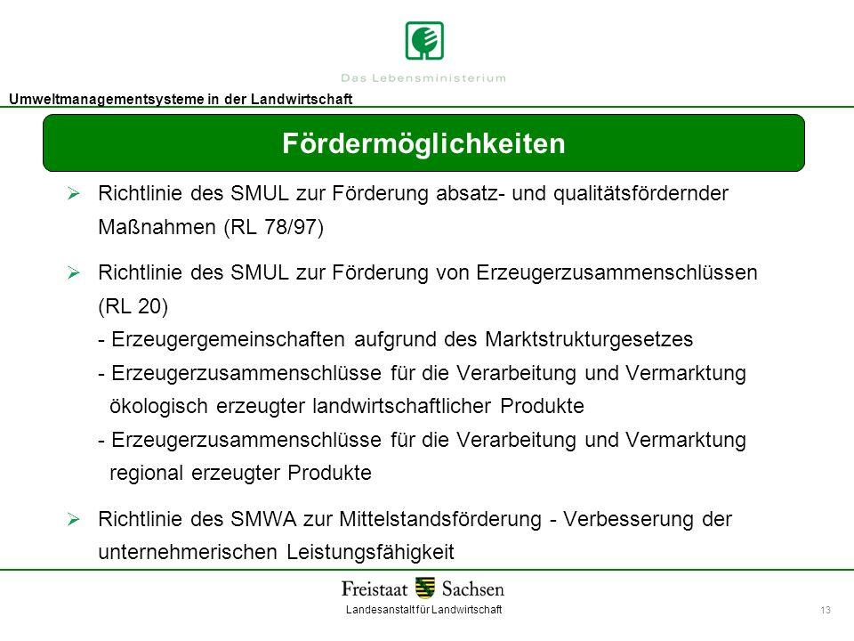 Landesanstalt für Landwirtschaft Umweltmanagement Umweltmanagementsysteme in der Landwirtschaft 13 Fördermöglichkeiten Richtlinie des SMUL zur Förderu