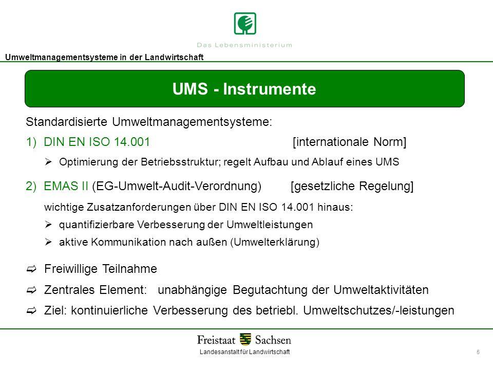 Landesanstalt für Landwirtschaft Umweltmanagement Umweltmanagementsysteme in der Landwirtschaft 5 UMS - Instrumente Standardisierte Umweltmanagementsy