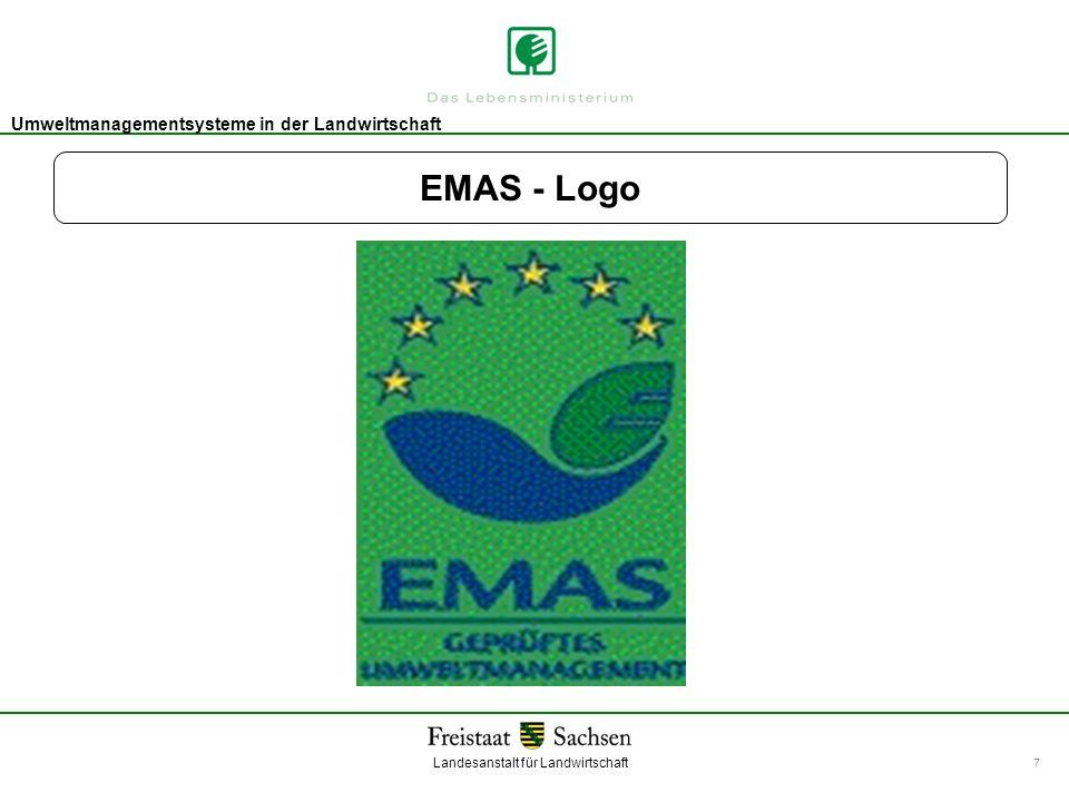 Landesanstalt für Landwirtschaft Umweltmanagement Umweltmanagementsysteme in der Landwirtschaft 7 EMAS - Logo