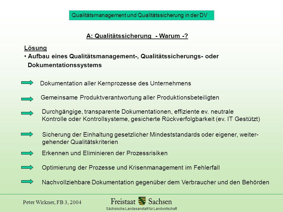 Sächsische Landesanstalt für Landwirtschaft Peter Wirkner, FB 3, 2004 B: Begriff, Methoden, Hilfsmittel zur Qualitätssicherung Basisqualität ist folglich die Konformität eines (landwirtschaftlichen) Produkts mit den grundlegenden rechtlichen Anforderungen an seinen Verwendungszweck Was ist (produktbezogene) Basisqualität.