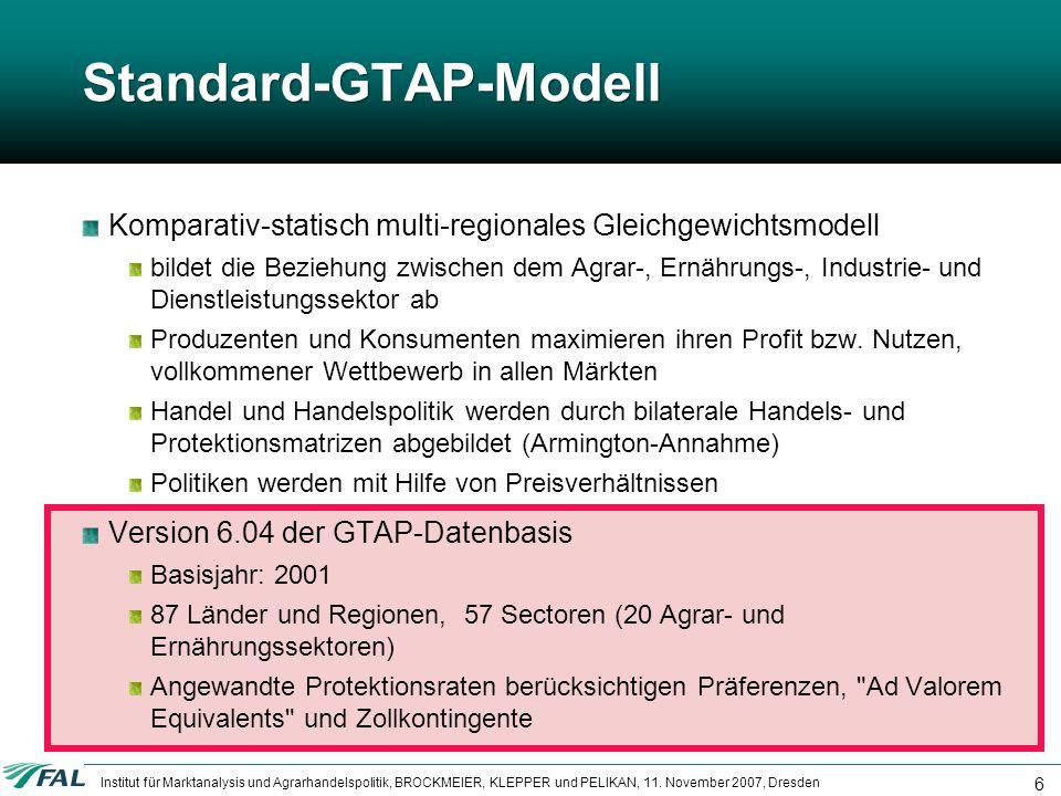 Institut für Marktanalysis und Agrarhandelspolitik, BROCKMEIER, KLEPPER und PELIKAN, 11. November 2007, Dresden 6 Standard-GTAP-Modell Komparativ-stat