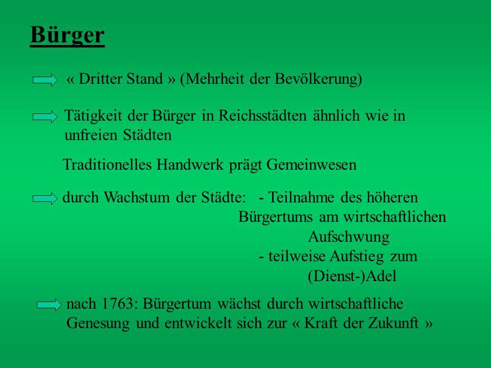 Bürger « Dritter Stand » (Mehrheit der Bevölkerung) Tätigkeit der Bürger in Reichsstädten ähnlich wie in unfreien Städten Traditionelles Handwerk präg