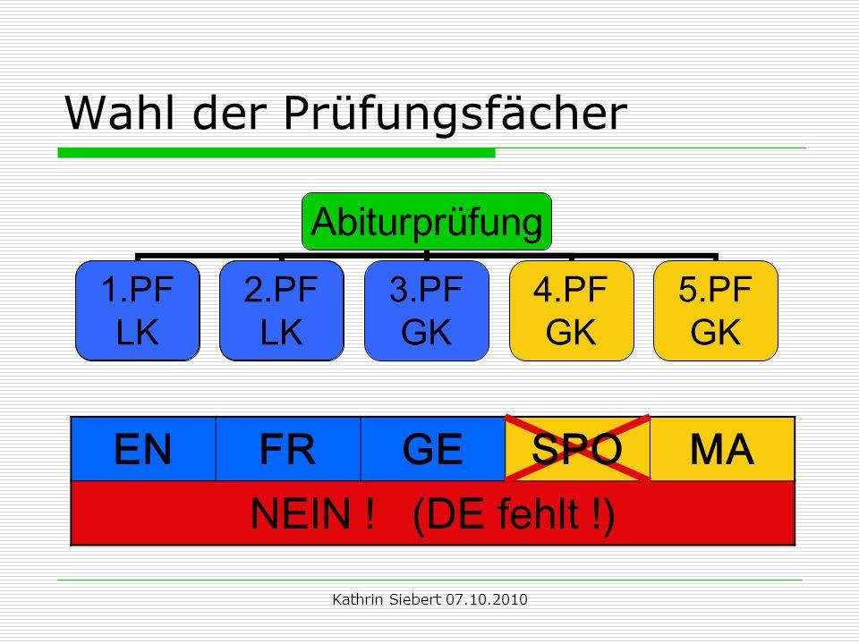 Kathrin Siebert 07.10.2010 Wahl der Prüfungsfächer 1.PF LK 2.PF LK ENFRGESPOMA NEIN ! (DE fehlt !)