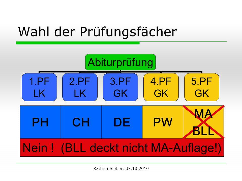 Kathrin Siebert 07.10.2010 Wahl der Prüfungsfächer Abiturprüfung 1.PF LK 2.PF LK 3.PF GK 4.PF GK 5.PF GK PHCHDEPW MA BLL Nein .