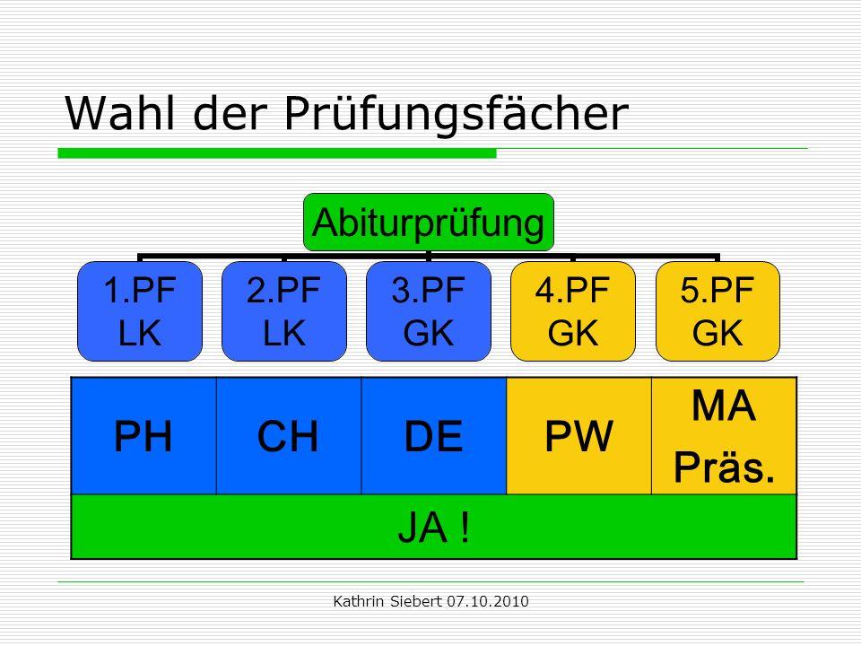 Kathrin Siebert 07.10.2010 Wahl der Prüfungsfächer Abiturprüfung 1.PF LK 2.PF LK 3.PF GK 4.PF GK 5.PF GK PHCHDEPW MA Präs.