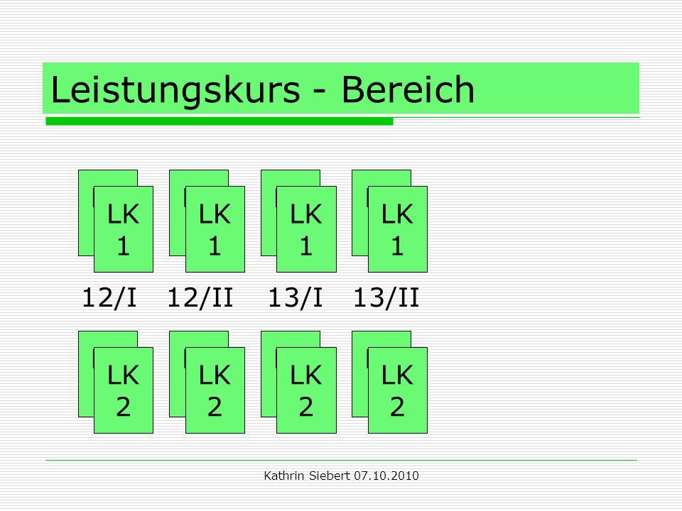 Kathrin Siebert 07.10.2010 Leistungskurs - Bereich LK 1 LK 1 LK 1 LK 1 LK 1 LK 1 LK 1 LK 2 LK 2 LK 2 LK 2 LK 2 LK 2 LK 2 12/I 12/II 13/I 13/II LK 1 LK 2