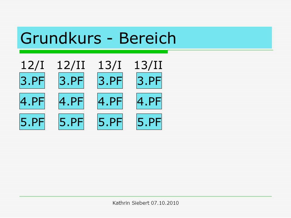 Kathrin Siebert 07.10.2010 Grundkurs - Bereich 12/I 12/II 13/I 13/II 3.PF 4.PF 5.PF 3.PF 4.PF 5.PF