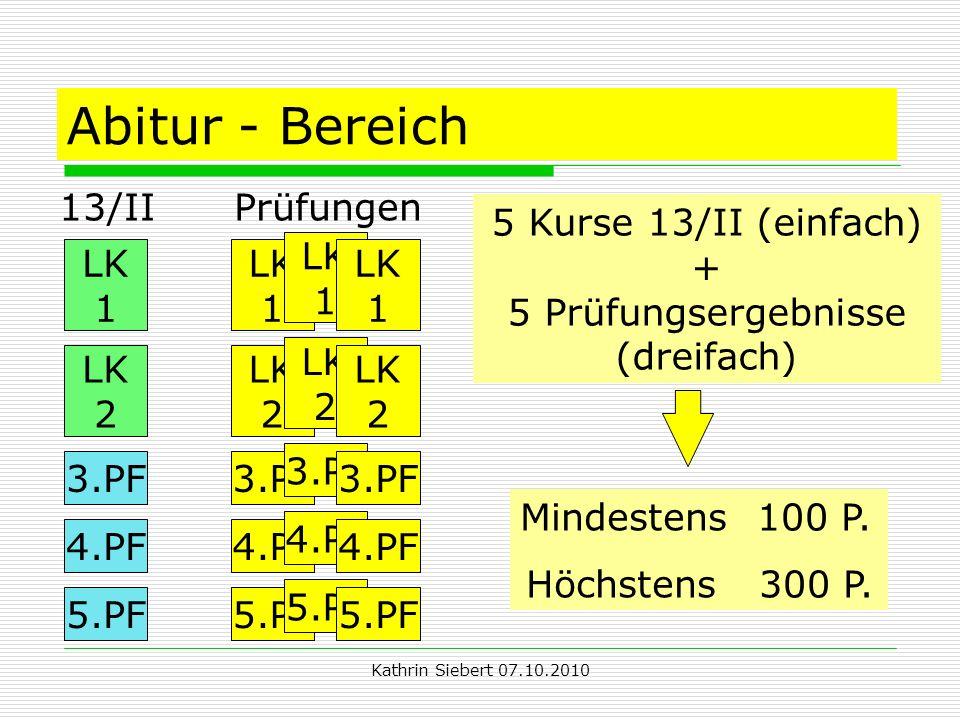 Kathrin Siebert 07.10.2010 Abitur - Bereich 13/II Prüfungen 5 Kurse 13/II (einfach) + 5 Prüfungsergebnisse (dreifach) Mindestens 100 P.