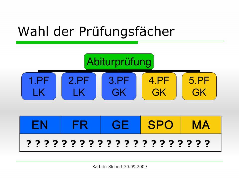 Kathrin Siebert 30.09.2009 Wahl der Prüfungsfächer Abiturprüfung 1.PF LK 2.PF LK 3.PF GK 4.PF GK 5.PF GK ENFRGESPOMA ? ? ? ? ? ? ? ? ? ? ? ? ? ? ? ? ?