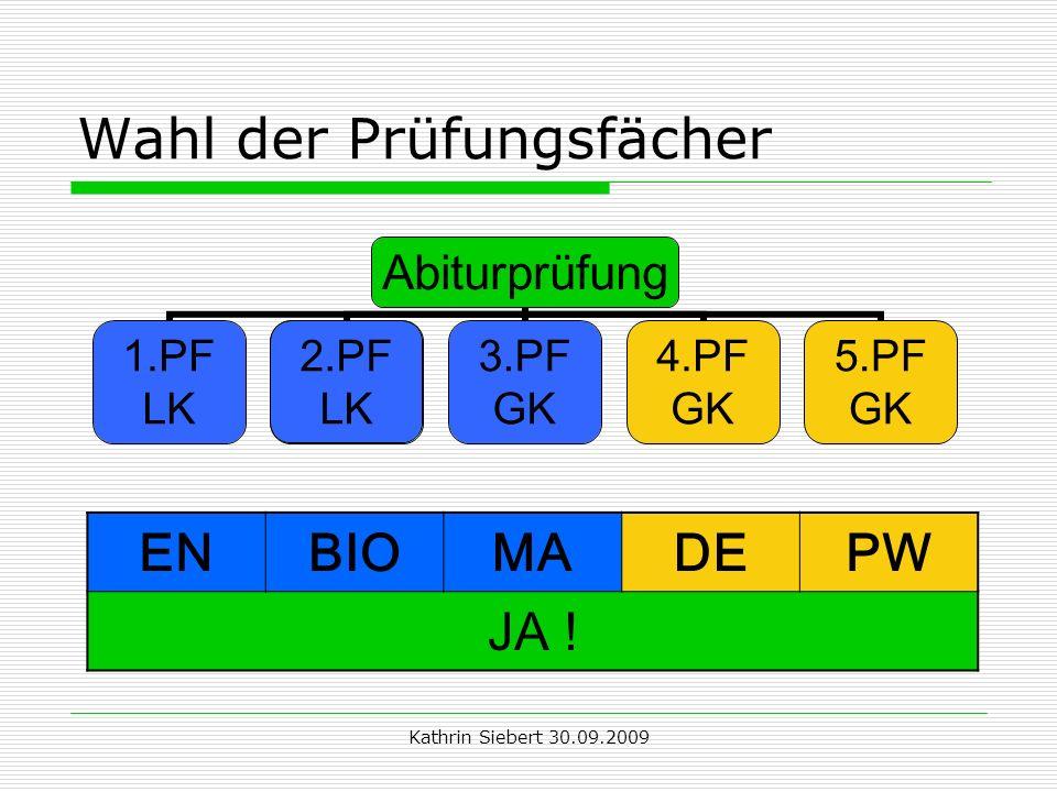 Kathrin Siebert 30.09.2009 Wahl der Prüfungsfächer 2.PF LK ENBIOMADEPW JA !
