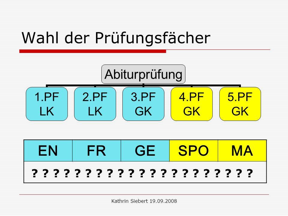 Kathrin Siebert 19.09.2008 Wahl der Prüfungsfächer Abiturprüfung 1.PF LK 2.PF LK 3.PF GK 4.PF GK 5.PF GK ENFRGESPOMA .