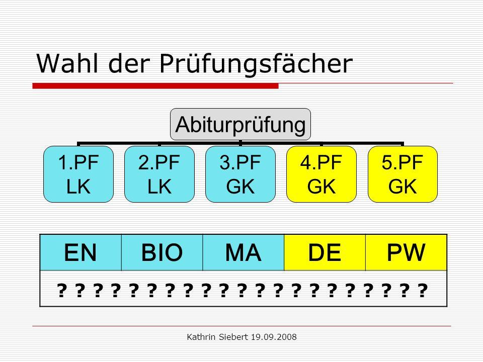 Kathrin Siebert 19.09.2008 Wahl der Prüfungsfächer Abiturprüfung 1.PF LK 2.PF LK 3.PF GK 4.PF GK 5.PF GK ENBIOMADEPW .