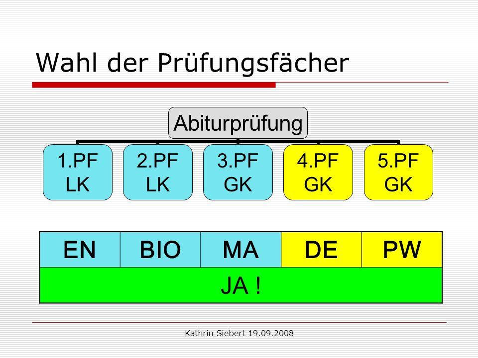 Kathrin Siebert 19.09.2008 Wahl der Prüfungsfächer Abiturprüfung 1.PF LK 2.PF LK 3.PF GK 4.PF GK 5.PF GK ENBIOMADEPW JA !