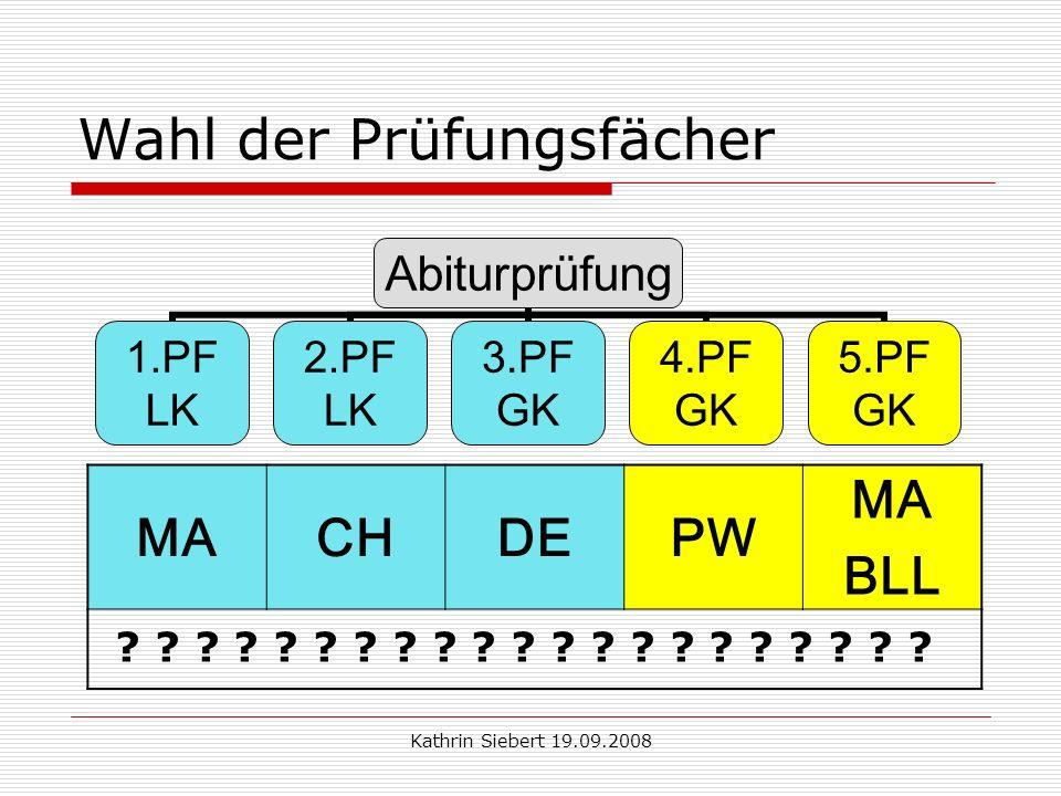 Kathrin Siebert 19.09.2008 Wahl der Prüfungsfächer Abiturprüfung 1.PF LK 2.PF LK 3.PF GK 4.PF GK 5.PF GK MACHDEPW MA BLL .