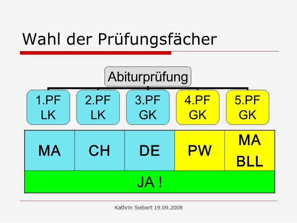 Kathrin Siebert 19.09.2008 Wahl der Prüfungsfächer Abiturprüfung 1.PF LK 2.PF LK 3.PF GK 4.PF GK 5.PF GK MACHDEPW MA BLL JA !