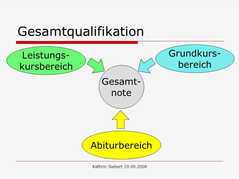 Kathrin Siebert 19.09.2008 Gesamtqualifikation Gesamt- note Grundkurs- bereich Leistungs- kursbereich Abiturbereich