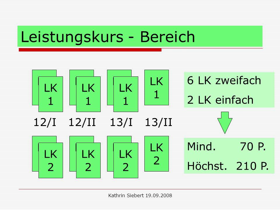 Kathrin Siebert 19.09.2008 Leistungskurs - Bereich LK 1 LK 1 LK 1 LK 1 LK 1 LK 1 LK 1 LK 2 LK 2 LK 2 LK 2 LK 2 LK 2 LK 2 12/I 12/II 13/I 13/II 6 LK zweifach 2 LK einfach Mind.