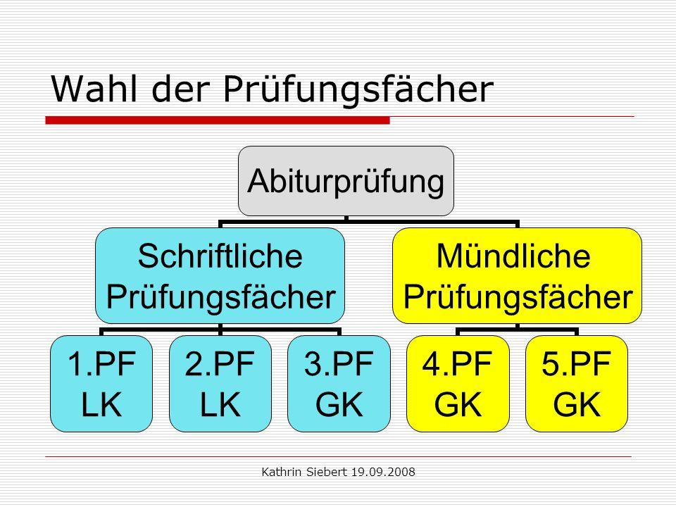 Kathrin Siebert 19.09.2008 Wahl der Prüfungsfächer Abiturprüfung 1.PF LK 2.PF LK 3.PF GK 4.PF GK 5.PF GK PHCHDEPW MA BLL Nein .