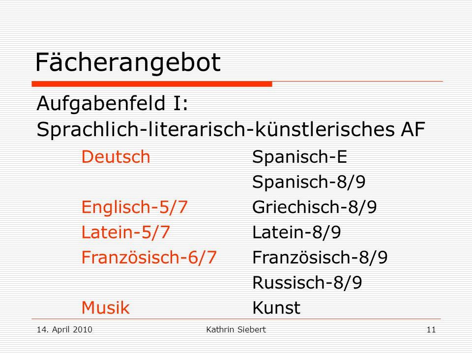 14. April 2010Kathrin Siebert11 Fächerangebot Aufgabenfeld I: Sprachlich-literarisch-künstlerisches AF DeutschSpanisch-E Spanisch-8/9 Englisch-5/7Grie