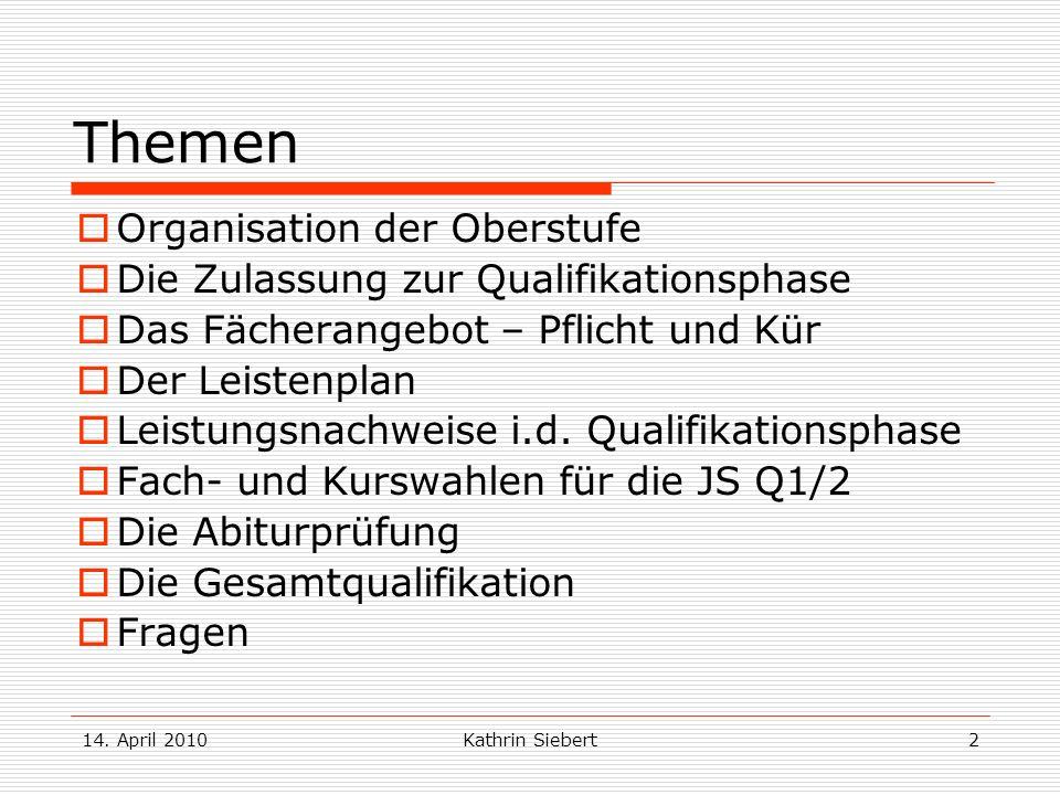 Kathrin Siebert2 Themen Organisation der Oberstufe Die Zulassung zur Qualifikationsphase Das Fächerangebot – Pflicht und Kür Der Leistenplan Leistungs