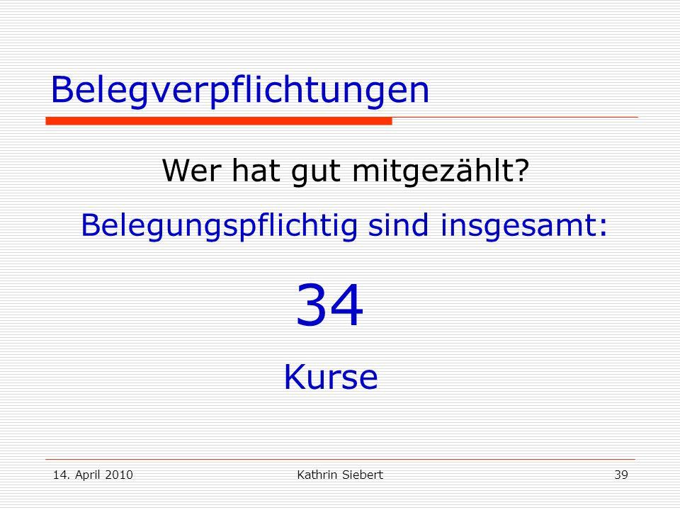 14. April 2010Kathrin Siebert39 Belegverpflichtungen Wer hat gut mitgezählt? Belegungspflichtig sind insgesamt: 34 Kurse