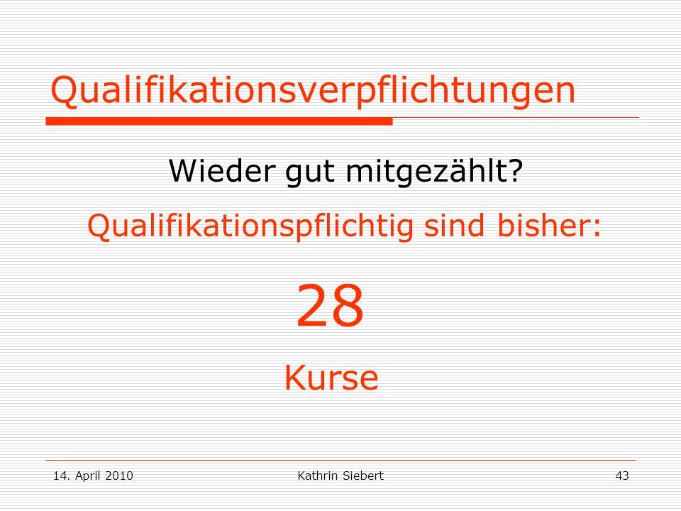 14. April 2010Kathrin Siebert43 Qualifikationsverpflichtungen Wieder gut mitgezählt? Qualifikationspflichtig sind bisher: 28 Kurse