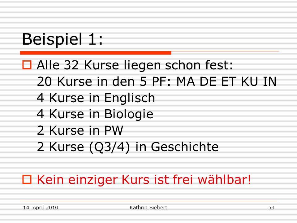 14. April 2010Kathrin Siebert53 Beispiel 1: Alle 32 Kurse liegen schon fest: 20 Kurse in den 5 PF: MA DE ET KU IN 4 Kurse in Englisch 4 Kurse in Biolo