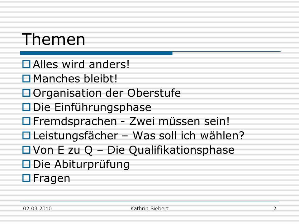 02.03.2010Kathrin Siebert23 Fächerangebot Aufgabenfeld II: Gesellschaftswissenschaftliches AF GeschichteKath.