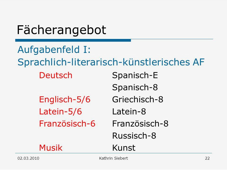 02.03.2010Kathrin Siebert22 Fächerangebot Aufgabenfeld I: Sprachlich-literarisch-künstlerisches AF DeutschSpanisch-E Spanisch-8 Englisch-5/6Griechisch