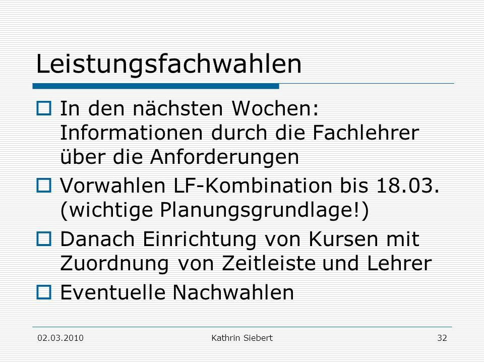 02.03.2010Kathrin Siebert32 Leistungsfachwahlen In den nächsten Wochen: Informationen durch die Fachlehrer über die Anforderungen Vorwahlen LF-Kombina