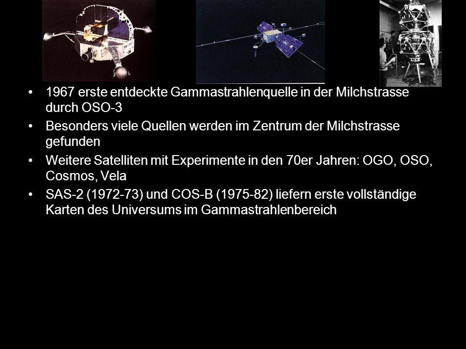 13 1967 erste entdeckte Gammastrahlenquelle in der Milchstrasse durch OSO-3 Besonders viele Quellen werden im Zentrum der Milchstrasse gefunden Weiter