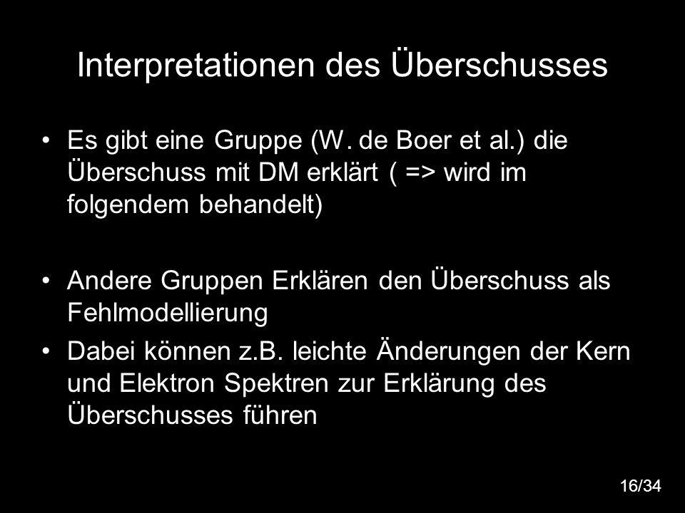 17 Interpretationen des Überschusses Es gibt eine Gruppe (W. de Boer et al.) die Überschuss mit DM erklärt ( => wird im folgendem behandelt) Andere Gr