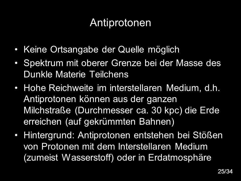 31 Antiprotonen Keine Ortsangabe der Quelle möglich Spektrum mit oberer Grenze bei der Masse des Dunkle Materie Teilchens Hohe Reichweite im interstel