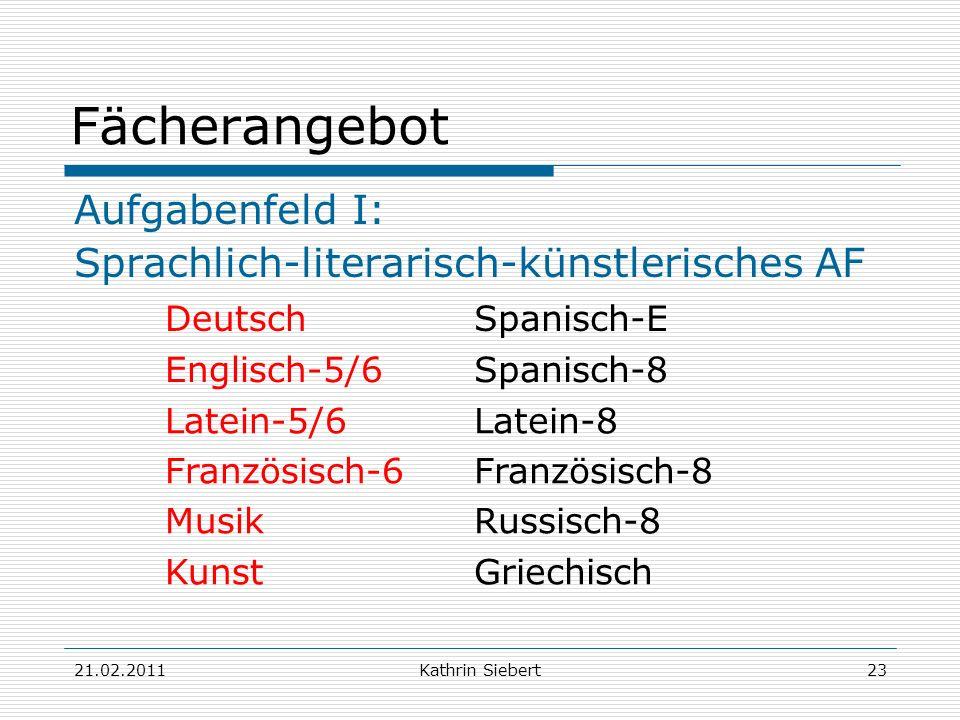 21.02.2011Kathrin Siebert23 Fächerangebot Aufgabenfeld I: Sprachlich-literarisch-künstlerisches AF DeutschSpanisch-E Englisch-5/6Spanisch-8 Latein-5/6