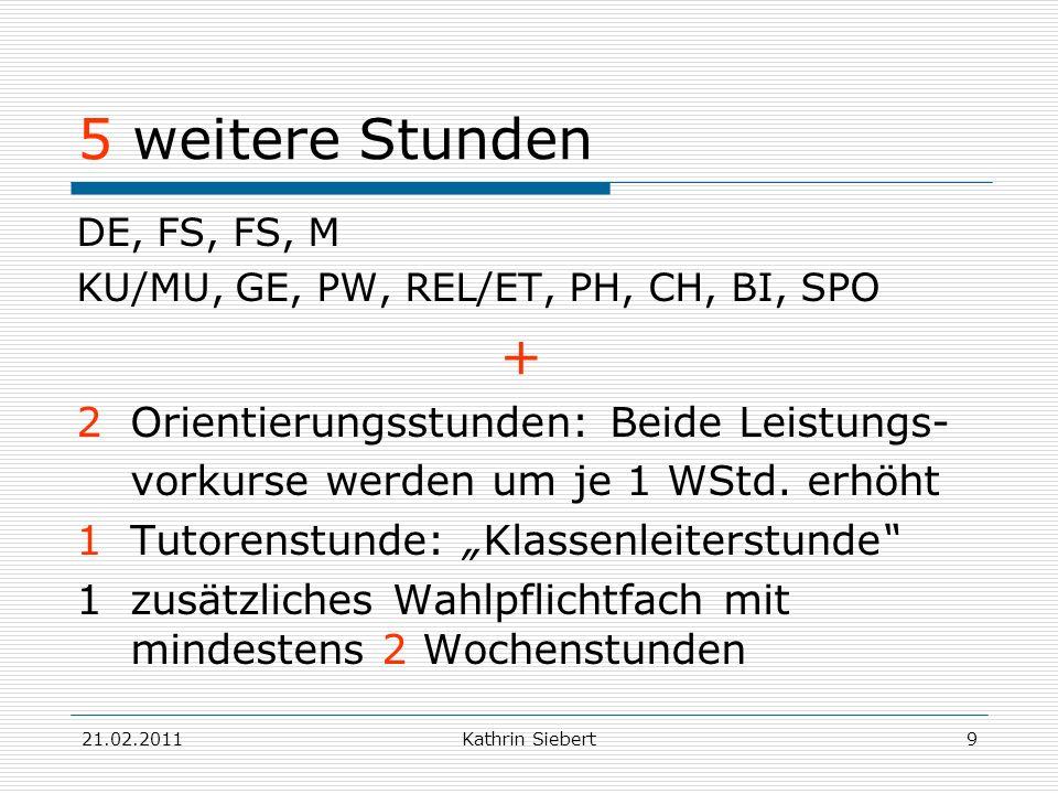 21.02.2011Kathrin Siebert9 5 weitere Stunden DE, FS, FS, M KU/MU, GE, PW, REL/ET, PH, CH, BI, SPO + 2 Orientierungsstunden: Beide Leistungs- vorkurse
