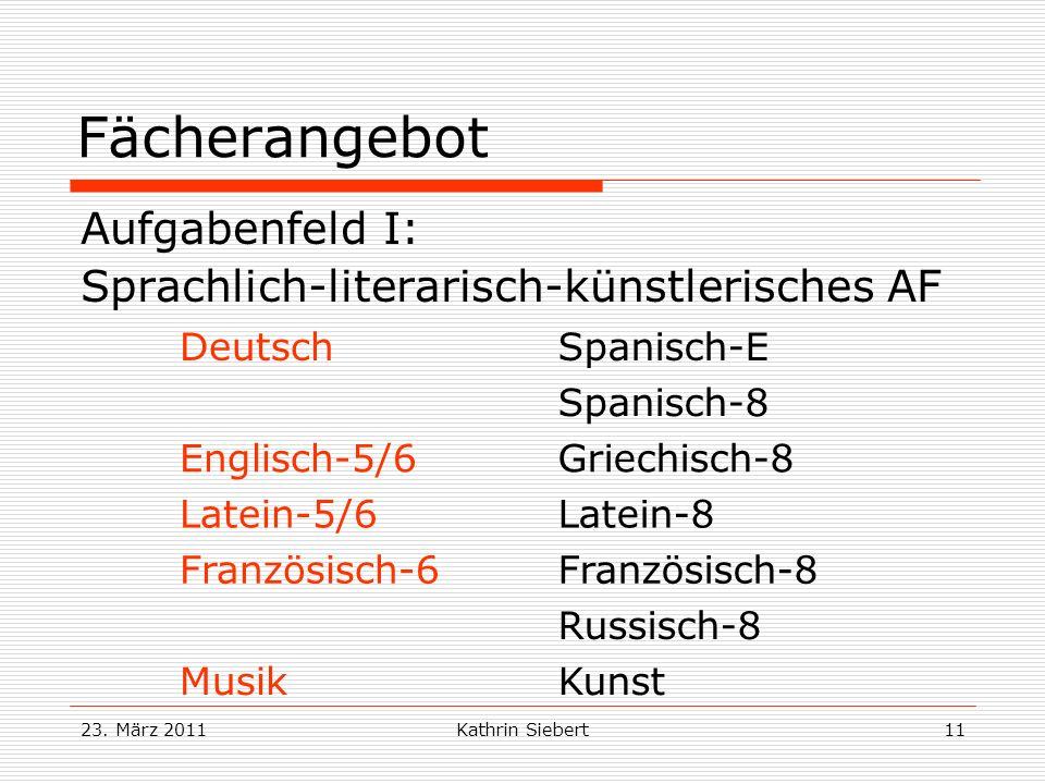 23. März 2011Kathrin Siebert11 Fächerangebot Aufgabenfeld I: Sprachlich-literarisch-künstlerisches AF DeutschSpanisch-E Spanisch-8 Englisch-5/6Griechi
