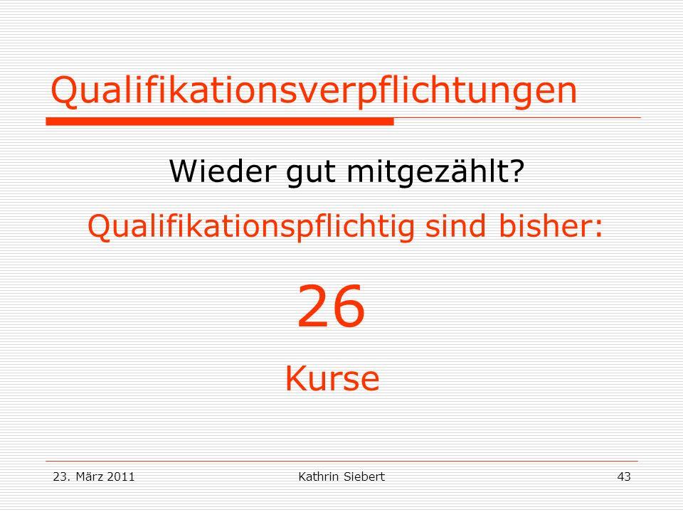 23.März 2011Kathrin Siebert43 Qualifikationsverpflichtungen Wieder gut mitgezählt.