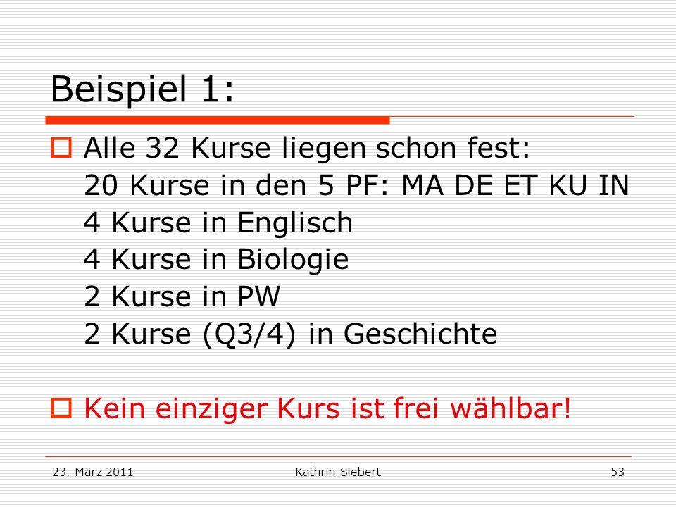 23. März 2011Kathrin Siebert53 Beispiel 1: Alle 32 Kurse liegen schon fest: 20 Kurse in den 5 PF: MA DE ET KU IN 4 Kurse in Englisch 4 Kurse in Biolog