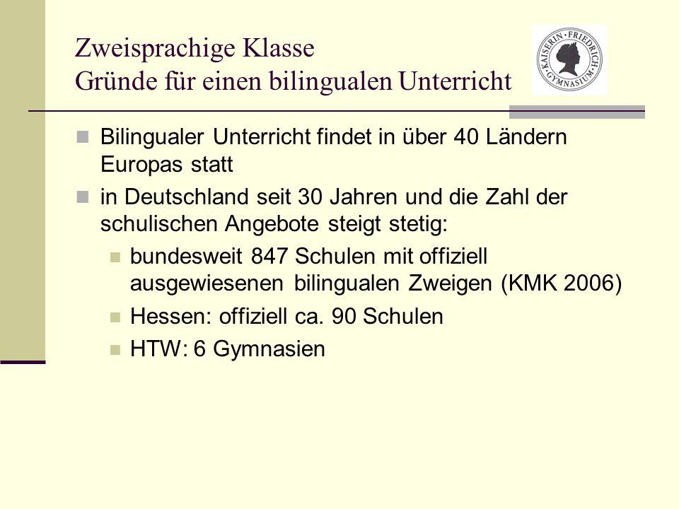 Zweisprachige Klasse Gründe für einen bilingualen Unterricht Bilingualer Unterricht findet in über 40 Ländern Europas statt in Deutschland seit 30 Jah