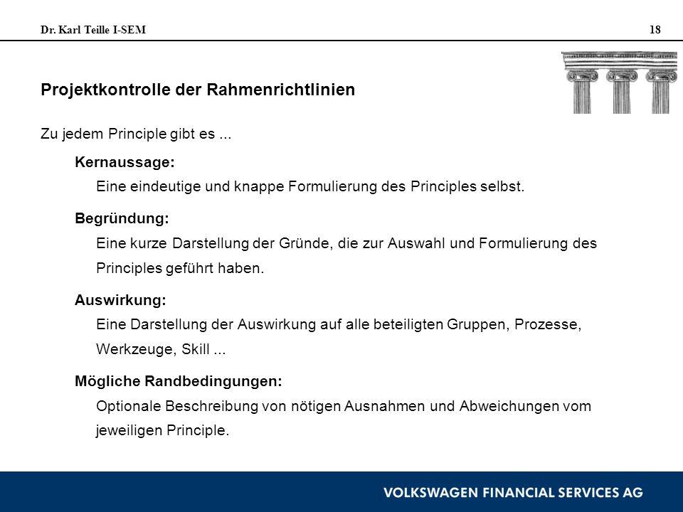 Dr. Karl Teille I-SEM 18 Projektkontrolle der Rahmenrichtlinien Zu jedem Principle gibt es... Kernaussage: Eine eindeutige und knappe Formulierung des