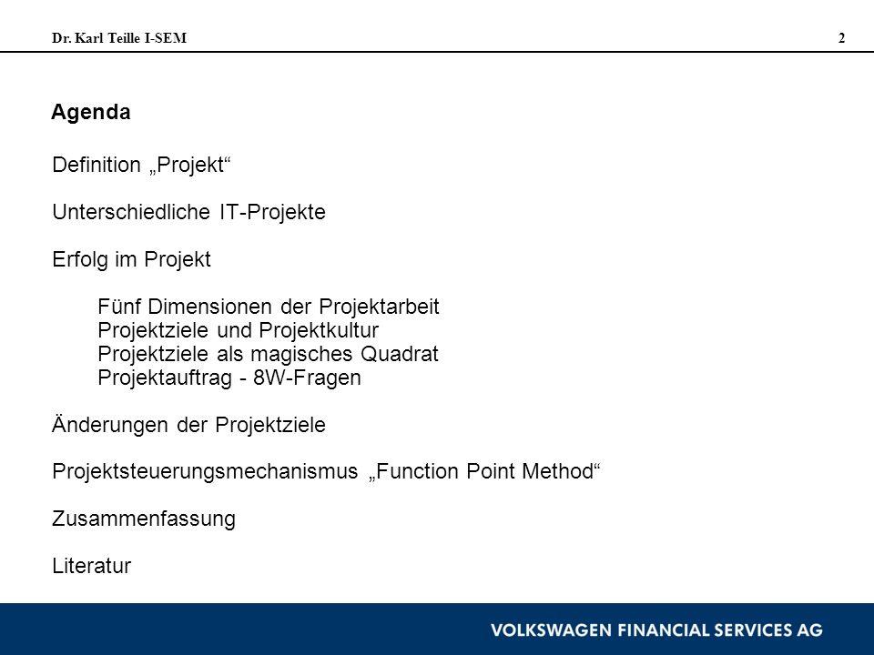 Dr. Karl Teille I-SEM 2 Agenda Definition Projekt Unterschiedliche IT-Projekte Erfolg im Projekt Fünf Dimensionen der Projektarbeit Projektziele und P