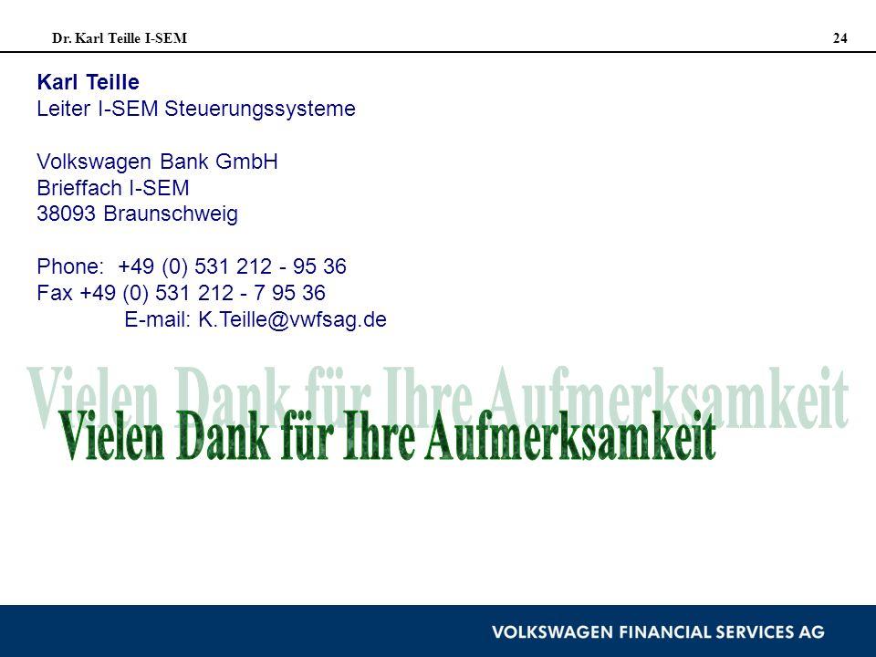 Dr. Karl Teille I-SEM 24 Karl Teille Leiter I-SEM Steuerungssysteme Volkswagen Bank GmbH Brieffach I-SEM 38093 Braunschweig Phone: +49 (0) 531 212 - 9
