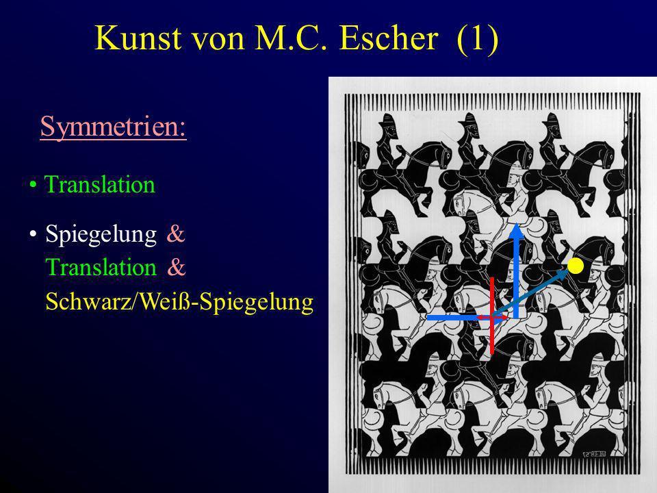Kunst von M.C. Escher (1) Symmetrien: Translation Spiegelung & Translation & Schwarz/Weiß-Spiegelung